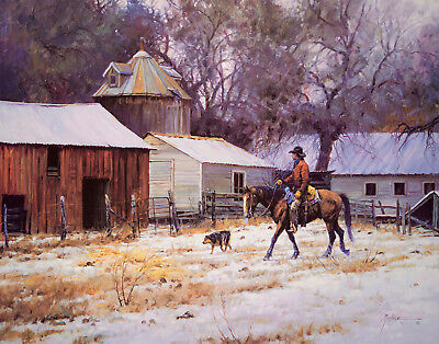 DAY'S END Martin Grelle Signed & Numbered w/coa Horse snow barn Cowboy dog Art