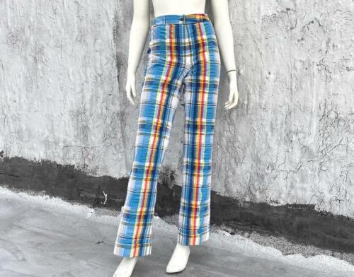 Vintage 1970s Seersucker Cotton Pants Size M L Striped High Waisted Trousers