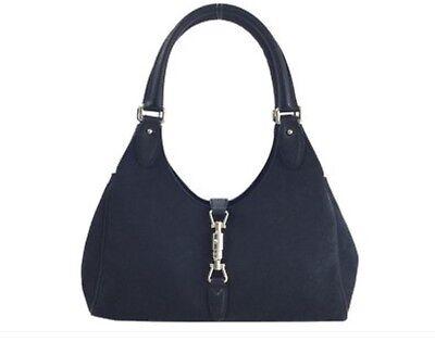 GUCCI Jackie O Shoulder Bag  GG Black Leather Canvas