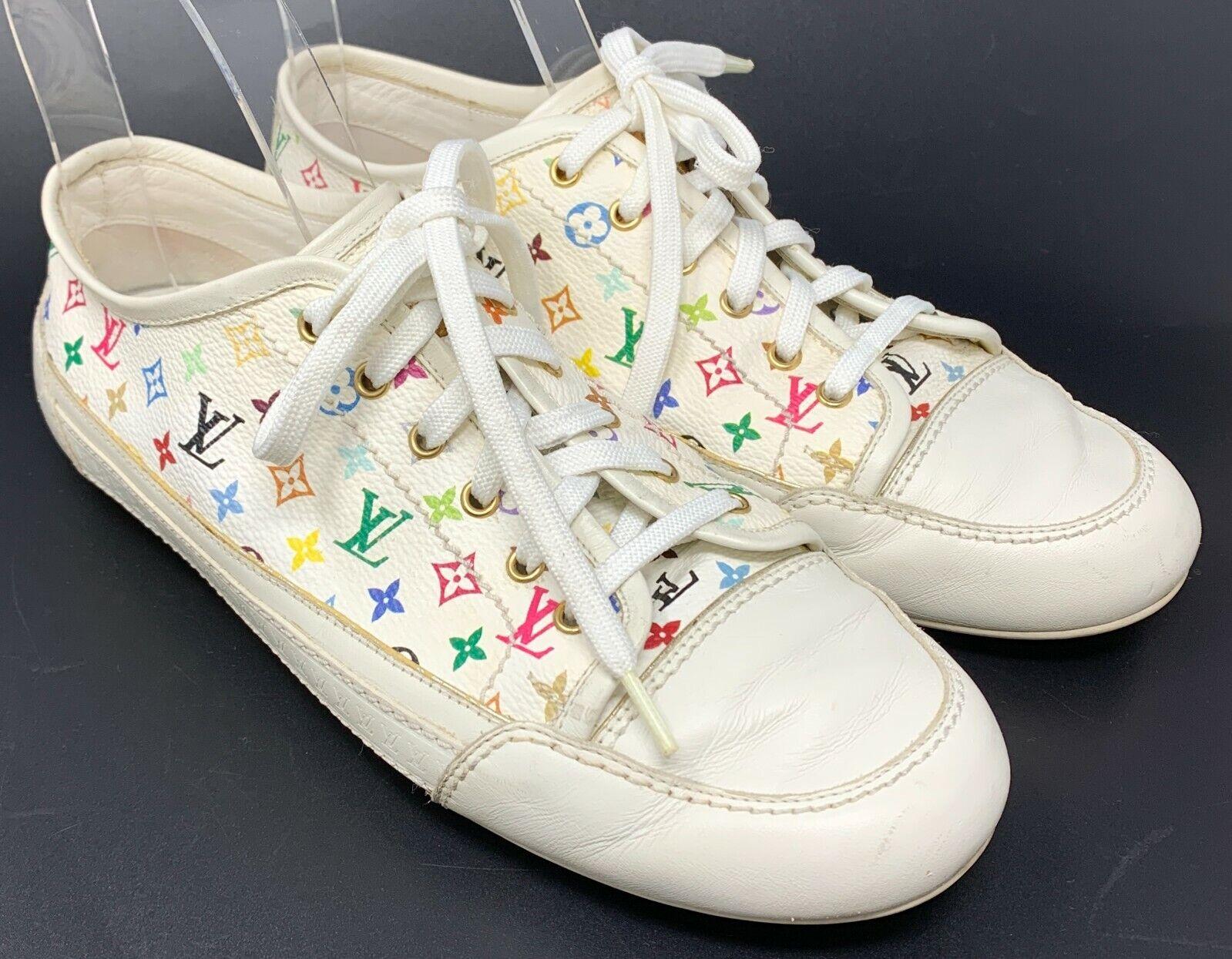 Authentique louis vuitton monogramme logo multicolore baskets #36.5 us 6.5 blanc