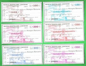 MINIASSEGNI-FIGURATIVI-BANCA-POPOLARE-UDINESE-SERIE-COMPLETA-6-VALORI-FDS