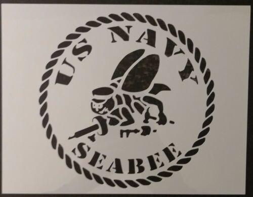 "USA US USN Navy Seabee Seabees 11"" x 8.5"" Custom Stencil FAST FREE SHIPPING"