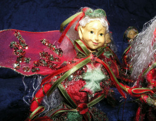 """Christmas Elf Fairy Decoration Set of 4 Winged Elves Poseable Glitter Red 11"""""""