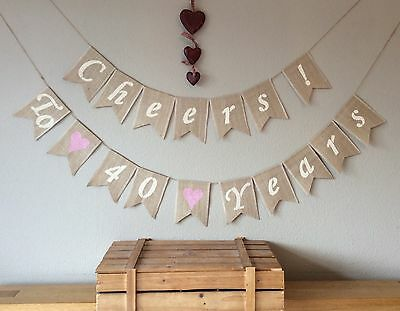 40th Ruby Wedding Anniversary Bunting Banner. Hessian Burlap Rustic Vintage - Ruby Wedding Anniversary Banners