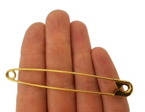 """50 pcs 76mm 3"""" Inch Jumbo Gold Brass Plated Safety Basting Pins Quilting Crafts"""