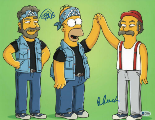 CHEECH AND CHONG SIGNED AUTO 11X14 PHOTO 'THE SIMPSONS' BAS BECKETT COA 407