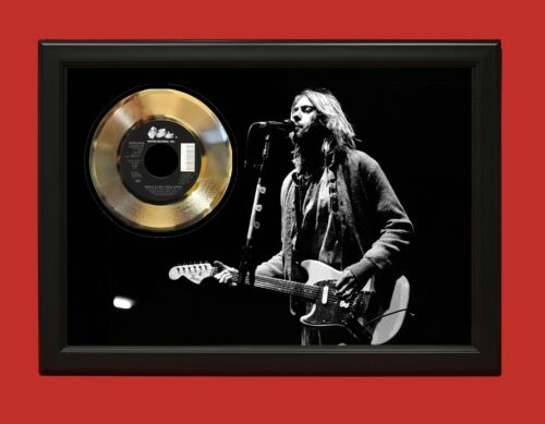 Nirvana Poster Art Wood Framed 45 Gold Record Display C3