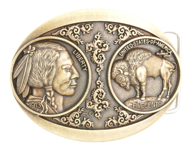 5 Cents Buffalo Indian Nickel Western Bronze Plated Metal Belt Buckle
