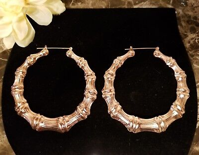 Bamboo Earrings/Rose Gold Finish Large Hoops 9cm/90mm/3.5 Inch