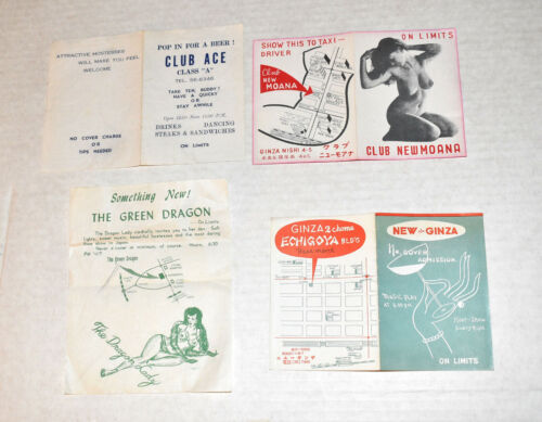 Occupied Japan Tokyo Night Clubs & Bars Cards Mini-Brochures~for U.S. Troops