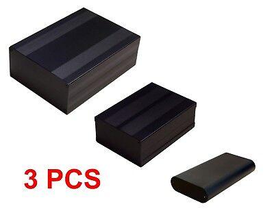 Black Aluminum Project Box Enclosure Case Electronic Diy Sm Med Lg - 3 Pcs