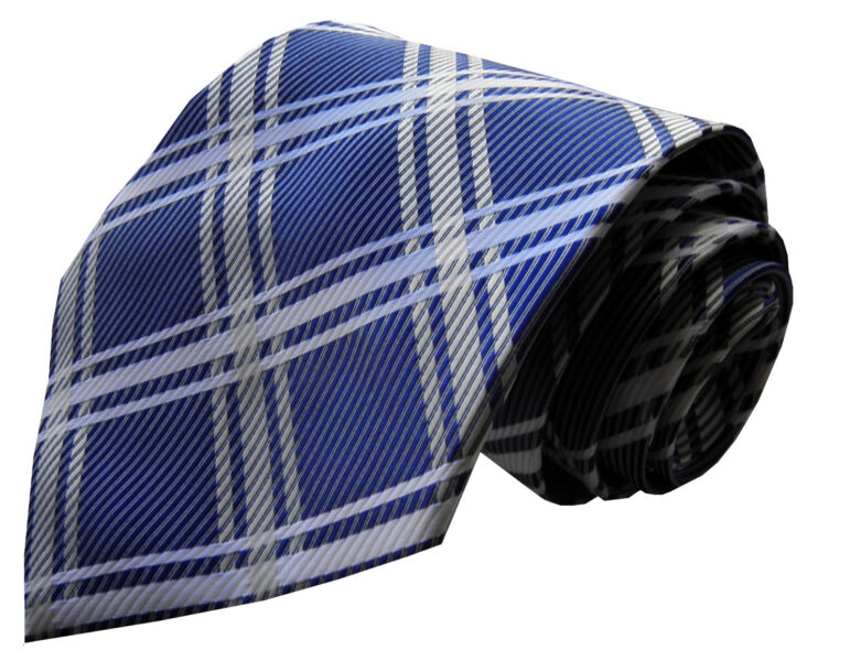 Gents Smart Cravate /> classique pour homme à rayures carreaux rayures carreaux soie bleu moyen Blanc