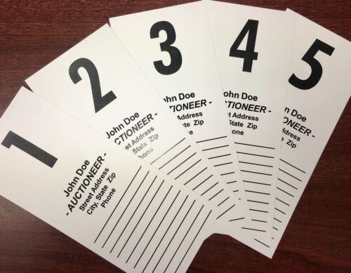 250 AUCTION BID CARDS, PRE-NUMBERED & PERSONALIZED,