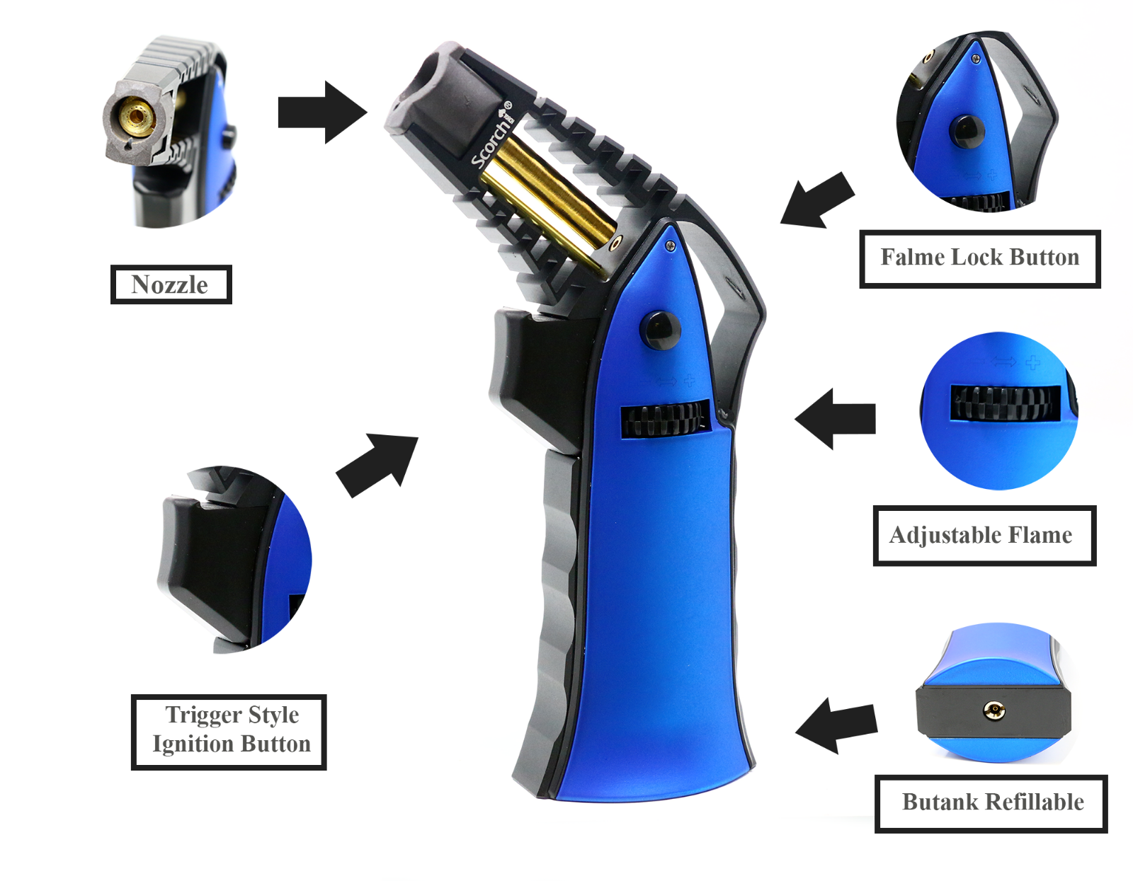 Scorch Torch Handheld Flame Adjustable Butane Refillable Tor