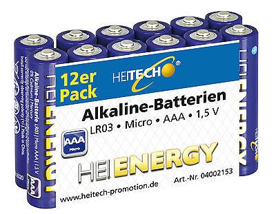 12 x Heitech Alkaline Batterien Micro AAA LR03 MN2400 MHD 8/2020