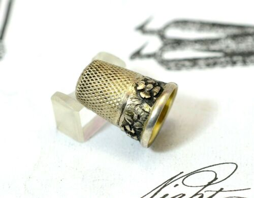 "Antique Thimble in 925 Silver & Vermeil Silver w/""Flowered"" Design (#x4550)"
