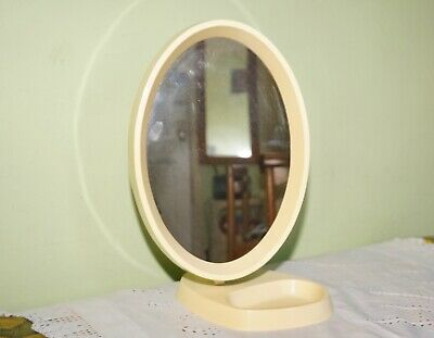 Vintage 60s Off White Plastic Oval Dressing Table Mirror Made In England
