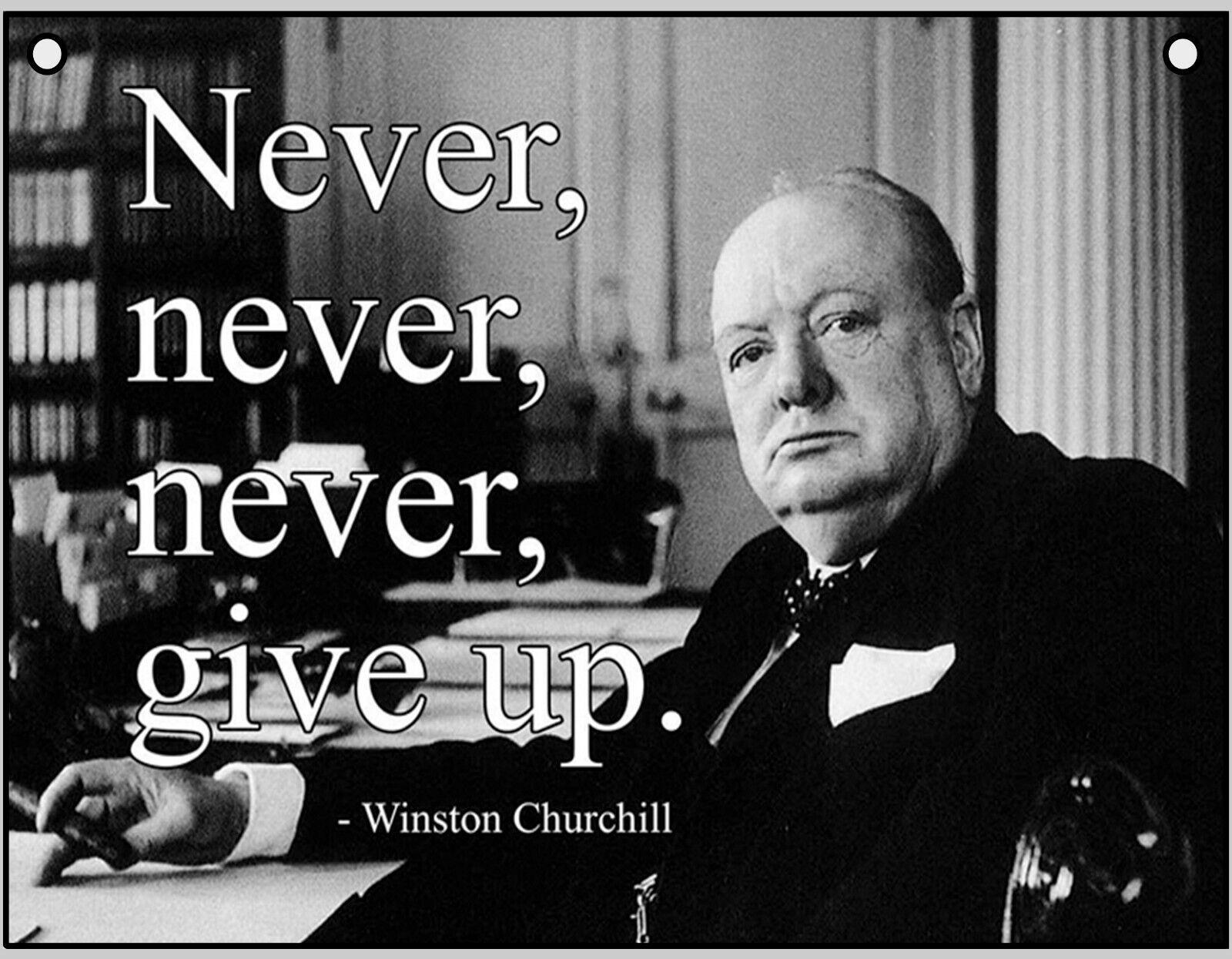 Blechschild 20x30cm Zitat Winston Churchill Unternehmer Spruch Schild Tin Sign