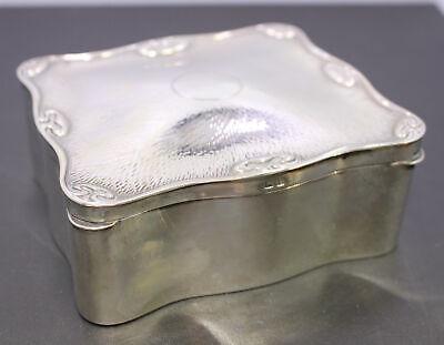 Antique 1910 WG Sother & Co. Birmingham Sterling Silver Velvet Lined Trinket Box