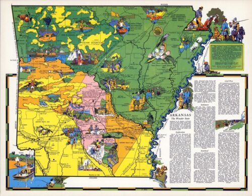 1941 ARKANSAS state pictorial map history folklore whimsical POSTER Aitchison