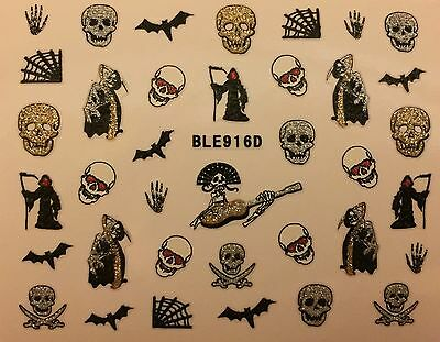 Nail Art 3D Glitter Decal Stickers Halloween Skull Bat Spider Web Reeper BLE916D - Halloween Spider Nails