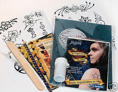 Grande Nero Jagua Henné Tatuaggi Temporanei Kit pro, Disegni e Trasferimento Ti