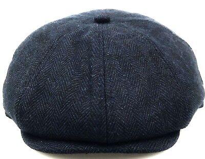 Peaky Blinders Newsboy Cap Tommy Shelby Style BLUE Herringbone Wool CHEAP PRICE