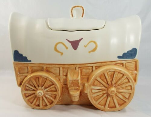Treasure Craft Covered Wagon Western Cookie Jar Made in U.S.A.