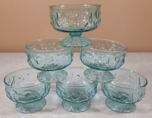 Vtg Lot/6 Anchor Hocking LIDO MILANO Blue Sherbet Custard Cup Footed Champagne