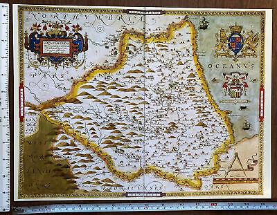 Old Antique vintage historical picture map 1500s Cambridge England Reprint 1574