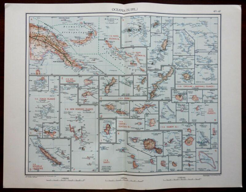 Oceania Islands Tonga New Caledonia Guam 1950s Catholicism Religious Vintage Map