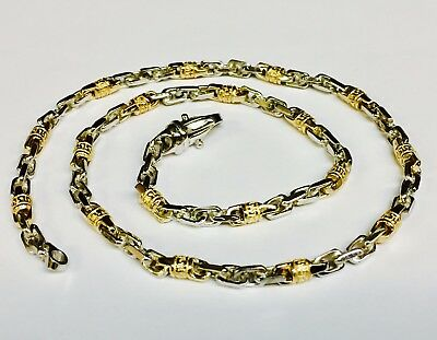 "18k Solid Gold Handmade Fashion Link Men's chain/Necklace 24"" 62 grams 4.5 MM"