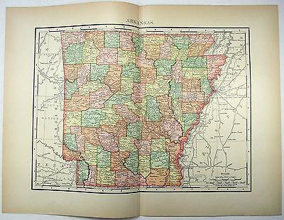 Original 1895 Map of Arkansas by Rand McNally