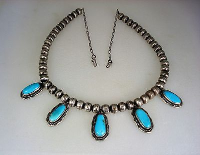 OLD NAVAJO STERLING SILVER BEAD & 5 TURQUOISE PENDANT NECKLACE