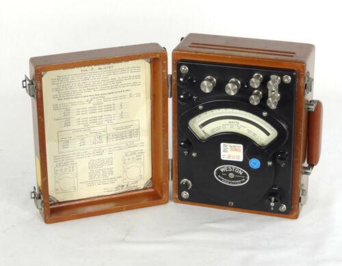 Weston Model 310 AC/DC Watt Meter Vintage Wood  Case Excelent Working Condition