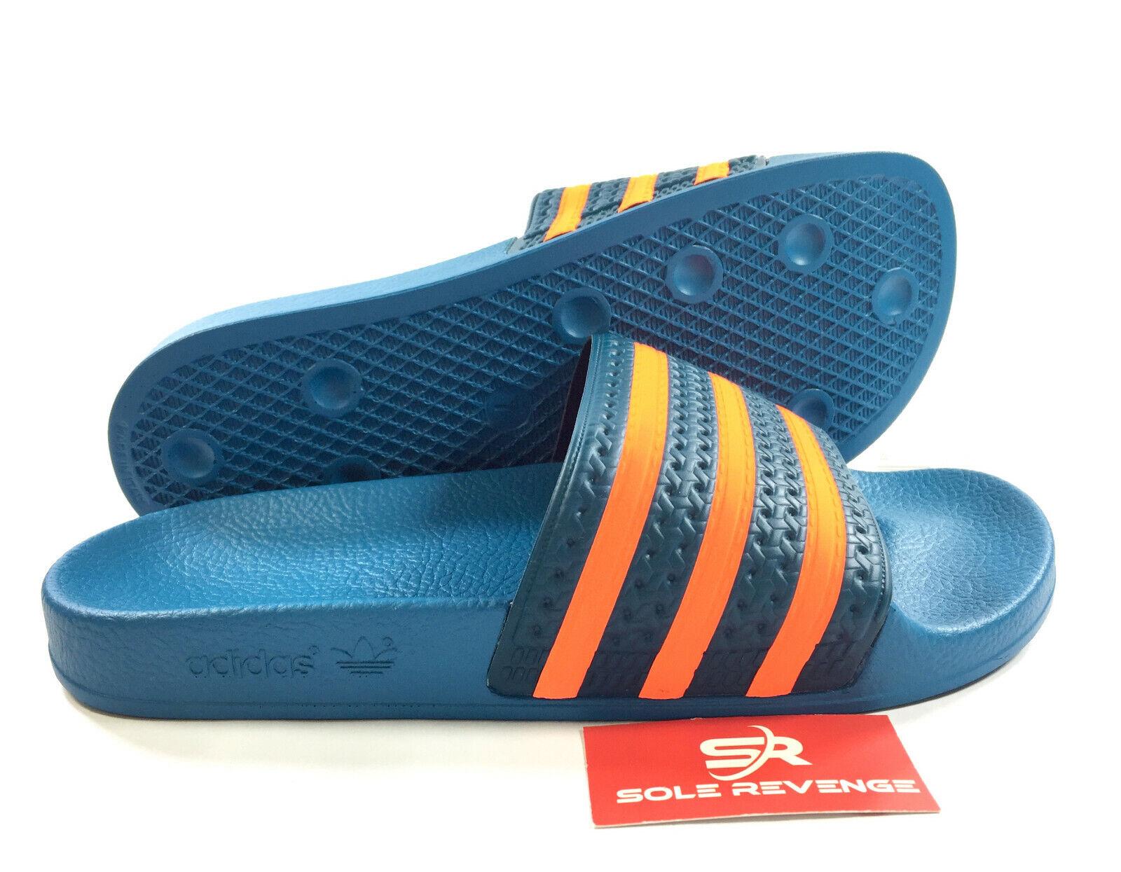 New Adidas ADILETTE Slides Sandals Mens Blue Orange Beach Fl
