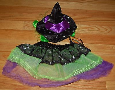 NWT Petco Bootique 2 Piece Starry Witch Dog Costume Hat and Skirt Purple S/M