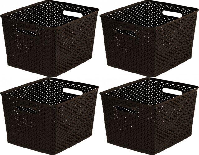 4 x Curver Nestable Rattan Basket Brown Small Storage Plastic Wicker Tray 18L