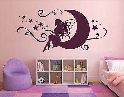 Wandtattoo Kinderzimmer Baby Mädchen Prinzessin Fee auf dem Mond Sterne pkm71