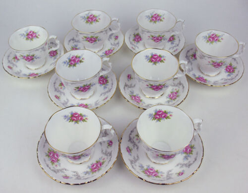 Set 8 x Teacups + Saucers Royal Albert Tranquillity tranquility vintage England
