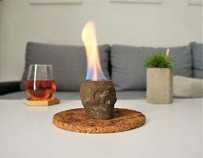 Concrete skull tabletop fire pit, Indoor fire pit, Concrete fireplace, Eco-fire