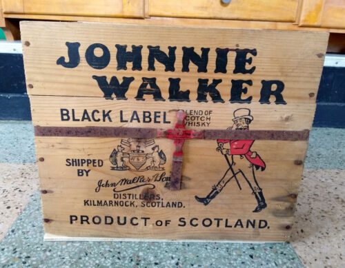 Vintage Johnnie Walker Black Label 12 Scotch Whisky Whiskey Bottle Wood Crate