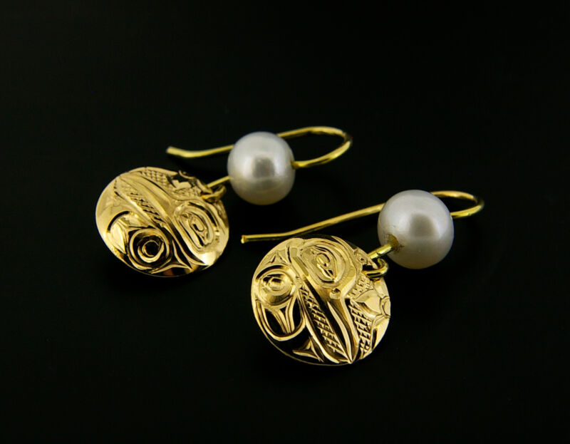 Pearl And 14 Karat Yellow Gold Drop Earrings Northwest Native Coast Hummingbird