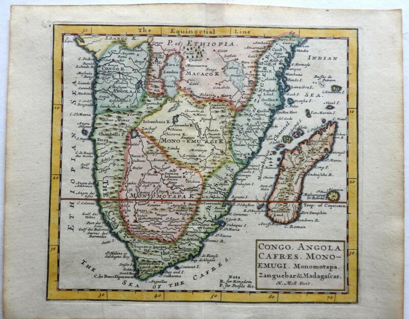 South African Pre-Colonial African Peoples Congo Monomotapa 1713 Moll map