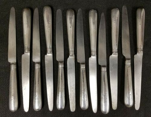 12 Antique 1808 English Georgian Sterling Silver Handle Knives MOSES BRENT
