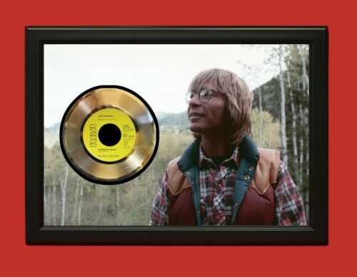 John Denver Poster Art Wood Framed 45 Gold Record Display C3