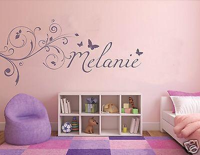 Wandtattoo Name Kinderzimmer, Mädchen, Sticker Baby  Wunschname mit Blumen pkm5 ()