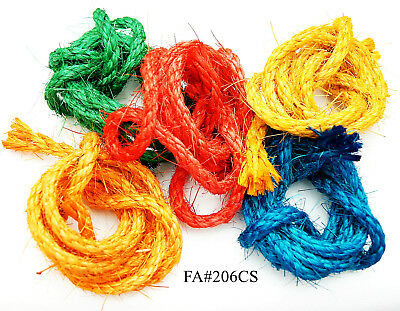 25 Feet Total Colored Unoiled Sisal Rope for Bird Parrot Parts Toys