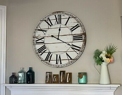 Large Wall Clock / 28 Inches / Rustic Distressed Look / Round / Wall Decor