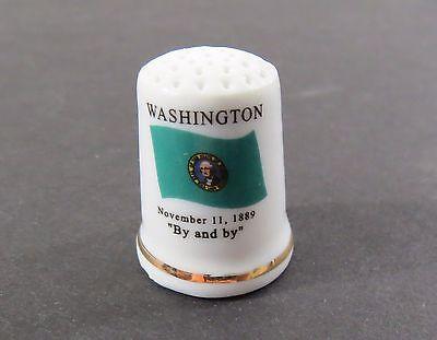 Porcelain State Flag Thimble - Washington - Flag, Motto, Flower, Bird
